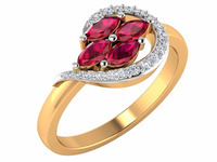 This Ring Set Is So Elegant $ Classic 14k Yellow Gold Natural Round Certified Diamond Natural Ruby stone Ring For Party Wear
