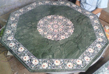 Green Marble Dining Table Top Mother of Pearl Inlay Arts