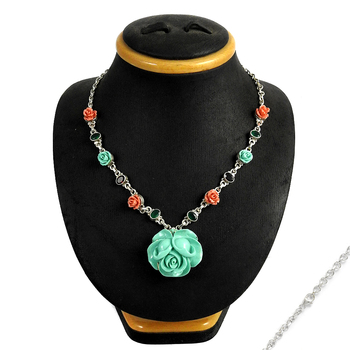 Flower onyx and garnet gemstone 925 silver necklace wholesale sterling silver necklaces manufacturer