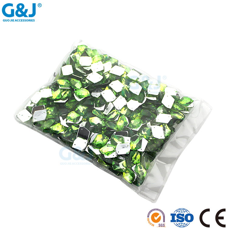 guojie brand wholesale Unique design bright surface beauty green acrylic stone