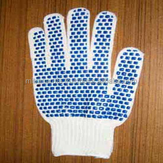 SALE Safety Work Glove Bleach White weight 800grams with Blue PVC Blocks coated