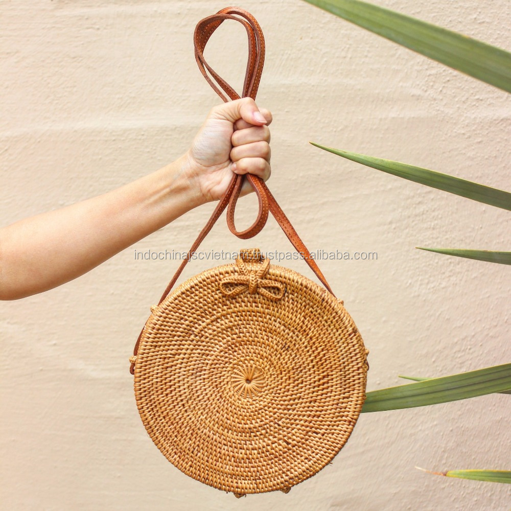 Round straw bag wholesale with long leather handles/ rattan beach bag