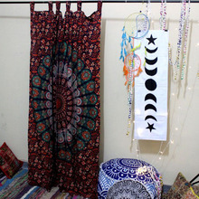 Indian Cotton Barmeri Mandala Window Door Cover Curtain Hanging Drape Portiere, Only 1 set Panel
