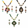 Jaipur Mart Gold Plated Multi & Green & Black Color Colored Glass Stone, Color Beads, Pearl Necklace With Earrings Combo Of 3 Pi