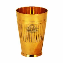 Solid bamboo design 13 oz brass glass cups for water