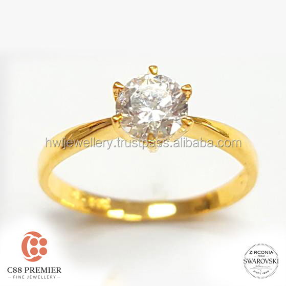 Petite Cathedral Solitaire gold jewellery designs for girls