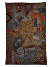 Handmade Embroidery Beaded Work Multicolor Wall Hanging Tapestry