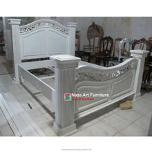White bed carved with Big pillar