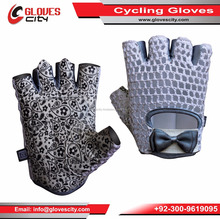 Wholesale Comfortable Gel White Leather Bicycle Gloves / Short Finger Cycling Gloves/ Half Finger Leather Cycling Gloves