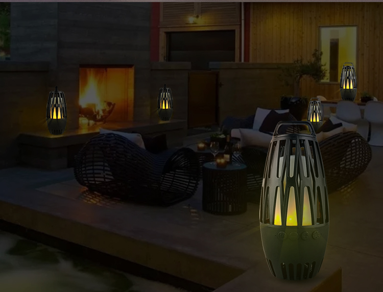 Handheld bamboo flame lamp bluetooth led speaker