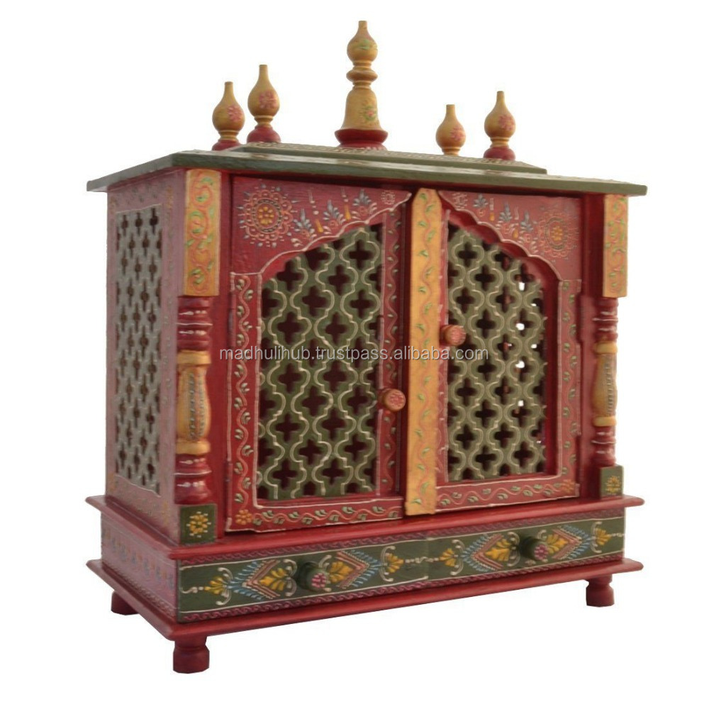 Colorful Very Pretty Hand Carved Indian Hindu Religious Wooden Temple Design For Home