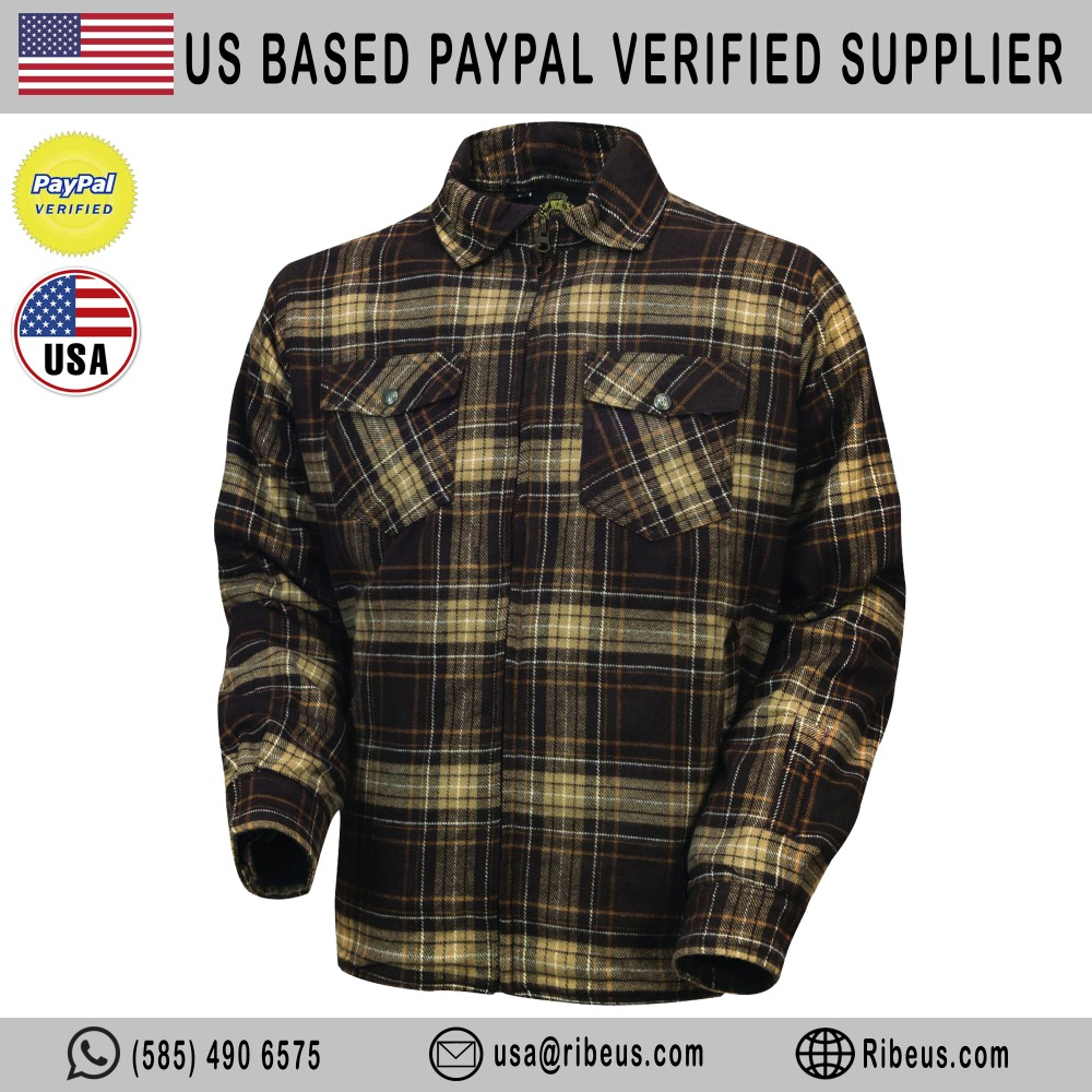 Red-Black Flannel Kevlar Motorcycle Shirt CE Armor