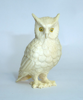 mammoth tusk figure owl signed