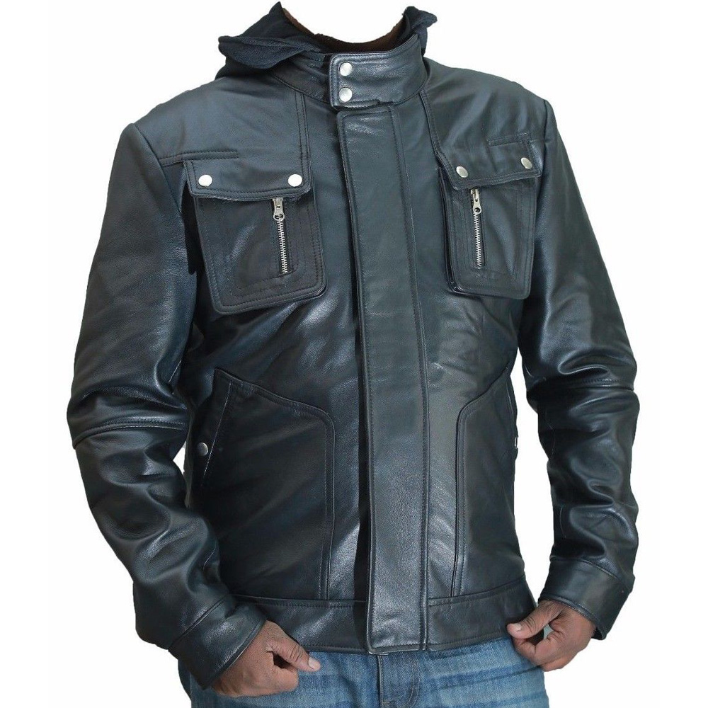 Men Double Zip Slim Fit Genuine Cowhide Leather Jacket with Detachable Hood
