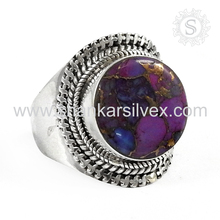 Graceful design silver ring jewelry 925 sterling purple copper turquoise gemstone silver jewellery exporter