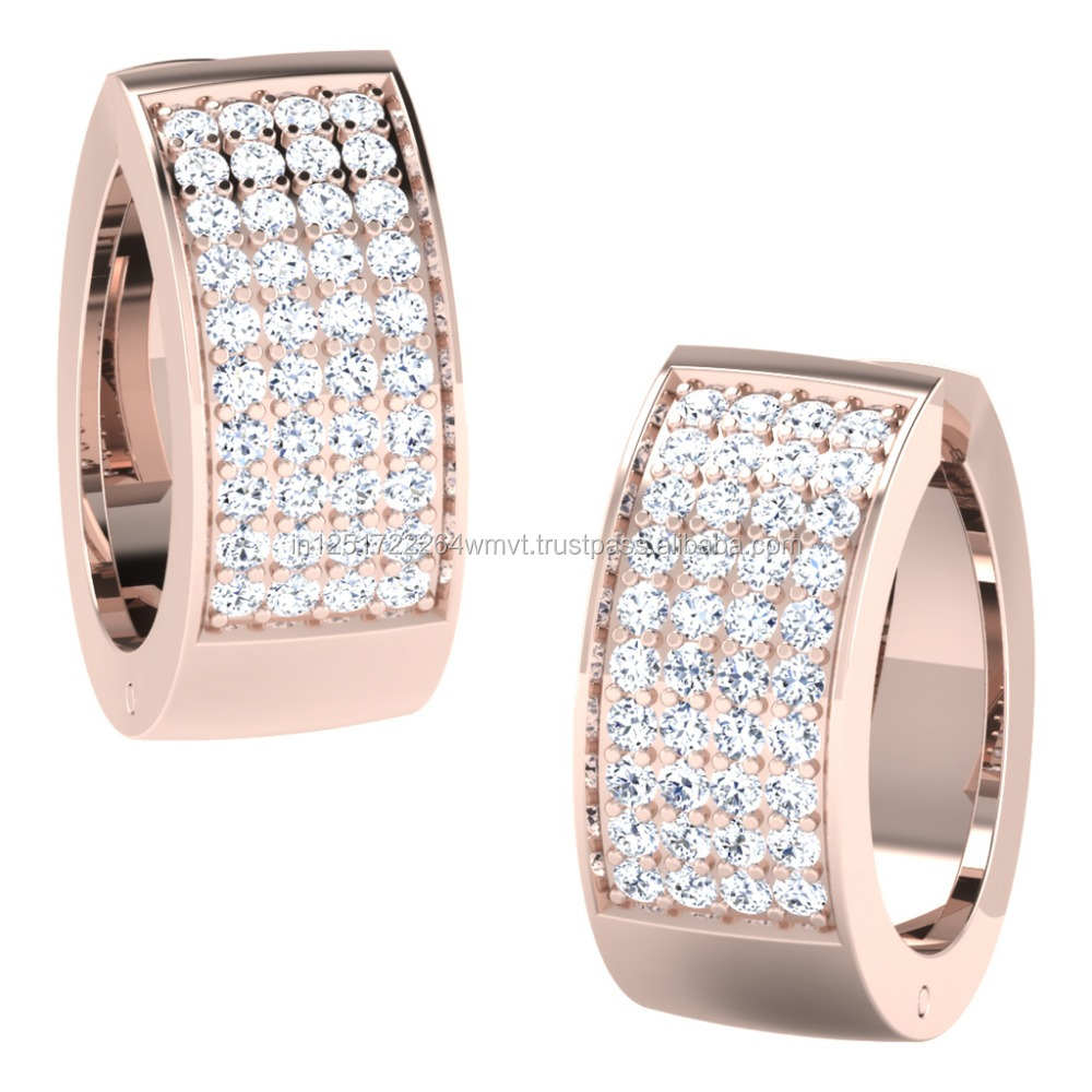 2017 Latest Design 14kt Rose Gold With Natural Diamond Designer Hoop Earrings