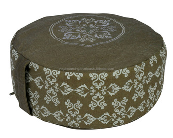 half Printed and embroidered new designed stone washed non pleated yoga zafu meditation cushions
