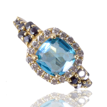 Natural Sky Blue Glass And White Cubic Zirconia With Black Spinal Gemstone Brass Gold Plated Fashion Jewelry Ring