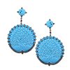 925 Silver Diamond Gemstone Peacock Design Carving Jewelry Natural Turquoise Earrings