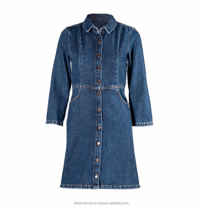 Long Detailed Denim Dress - Special Washing Effect - 1247