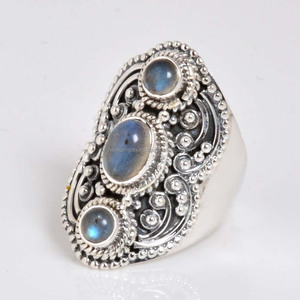 Indian handmade antique design labradorite gemstone ring 925 sterling silver jewelry rings wholesale supplier