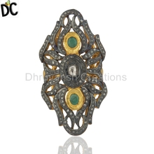Natural Emerald and Pave Diamond Womens Ring Gold Plated 925 Silver Wedding Ring Supplier