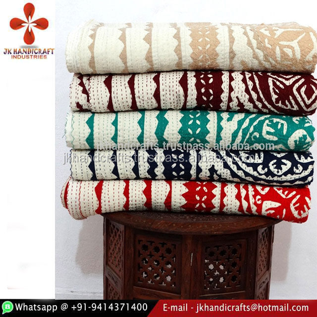 Mix Wholesale Set Of 5 Pcs Lot Applique Cut Work Kantha Bedspread Quilt Indian Cotton Bed Cover Patchwork Hand Kantha Work Ralli
