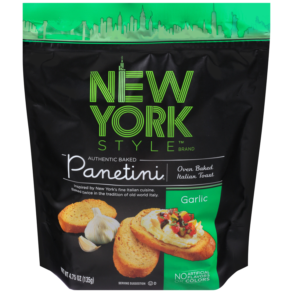 Garlic Italian Toast Panetini 4.75 oz NEW YORK STYLE Organic Snacks
