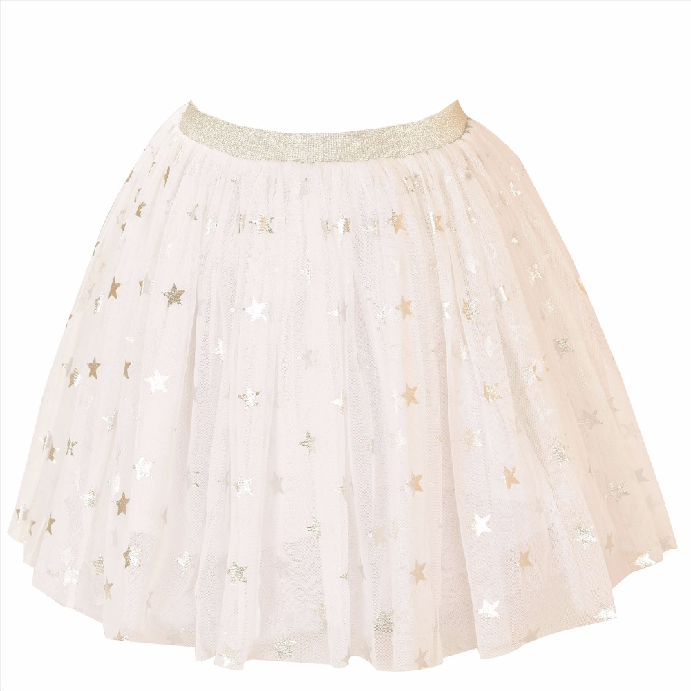 CrayonFlakes Kids Wear for Girls White Net Short Skirt with Shining Silver Stars