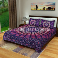 Exclusive indian mandala tapestry bedding with pillow covers fabric cotton bed sheet set