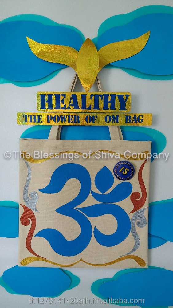 Hand-painted Classic OM Thai Thai Tote Bag (L size) (Natural Colors)