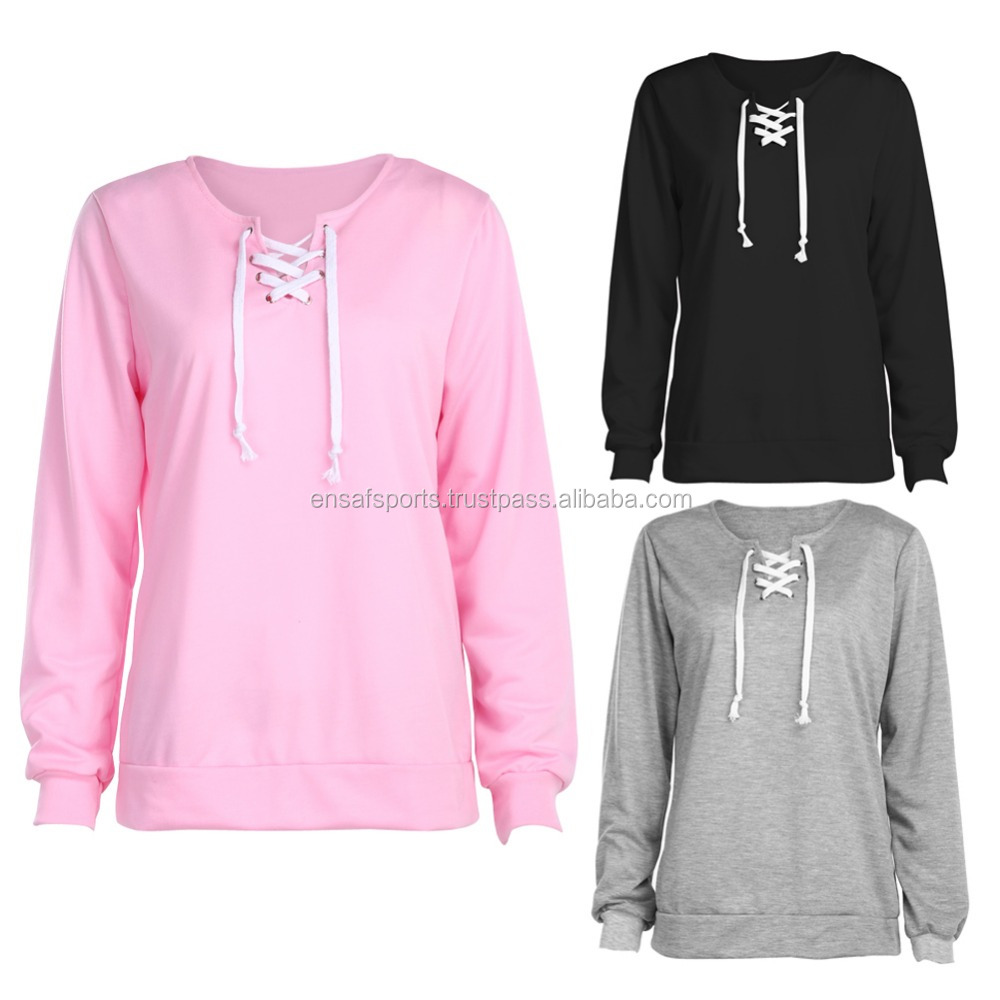 Ladies Lace-Up Sweatshir,Women Gray High Neck Lace Up Front Long Sleeve Cropped SweatshirtWomen's Lace-Up Sweatshirt