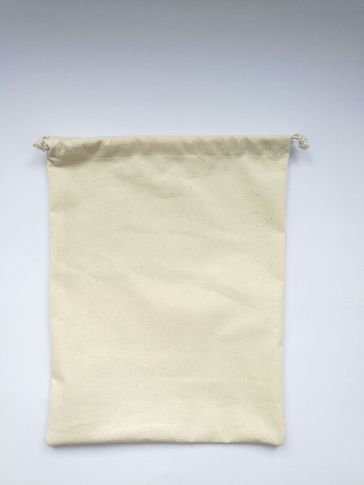 Recycled undyed natural cotton drawstring produce bag