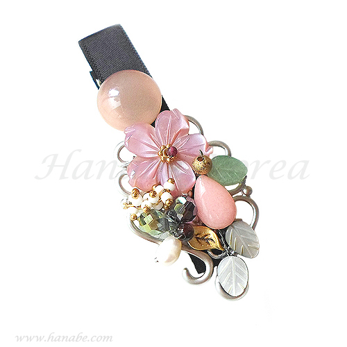 Handmade Pink Flower Mother of Pearl Crystal Beaded Ornate Hair Clip Hair Pin