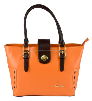 Vestta Unique Orange Artificial Leather Tote Bag for Women