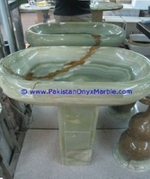 HOME COMFORTS AND BEAUTIFUL ONYX PEDESTALS SINKS BASINS DARK GREEN