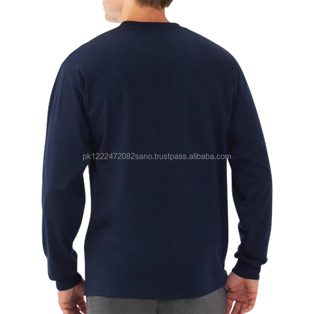 High quality front and back custom silk screen printing 100% cotton fashion men shirt knit long sleeve