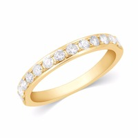 1/2 Carat Certified Natural Diamond Half Eternity Engagement Ring in 10k Solid Gold