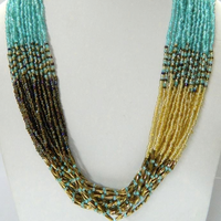 MULTI LAYERS Link GLASS SEED BEAD LONG Necklace String Evening Party Wear