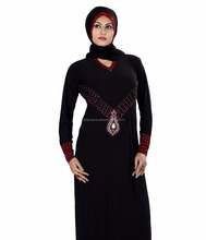 Black Lycra Stones Embellished Abaya Muslim New Model