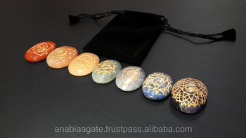 Chakra Stone Engraved Oval Set With Pouch : Chakra Stone set With Pouch