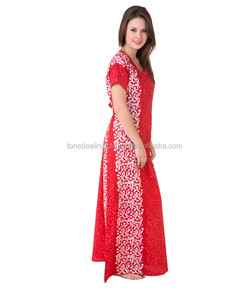 Printed long cotton nightgown cotton nighty india fat women