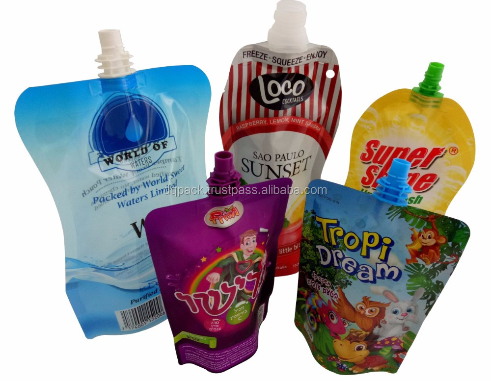 Beverage stand up pouch plastic bag with spout, fruit juice stand pouch packaging bag, water drinking metalized pouch with spout
