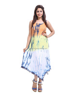 Latest Design Rayon Crepe Tie Dye Yellow And Peach Abstract Dress