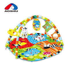 Cute animal colorful soft plush baby play gym mat with hanging accessories