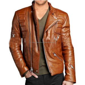 BROWN DESIGNER MENS ATTRACTIVE LEATHER MOTO JACKET/distressed brown leather jacket