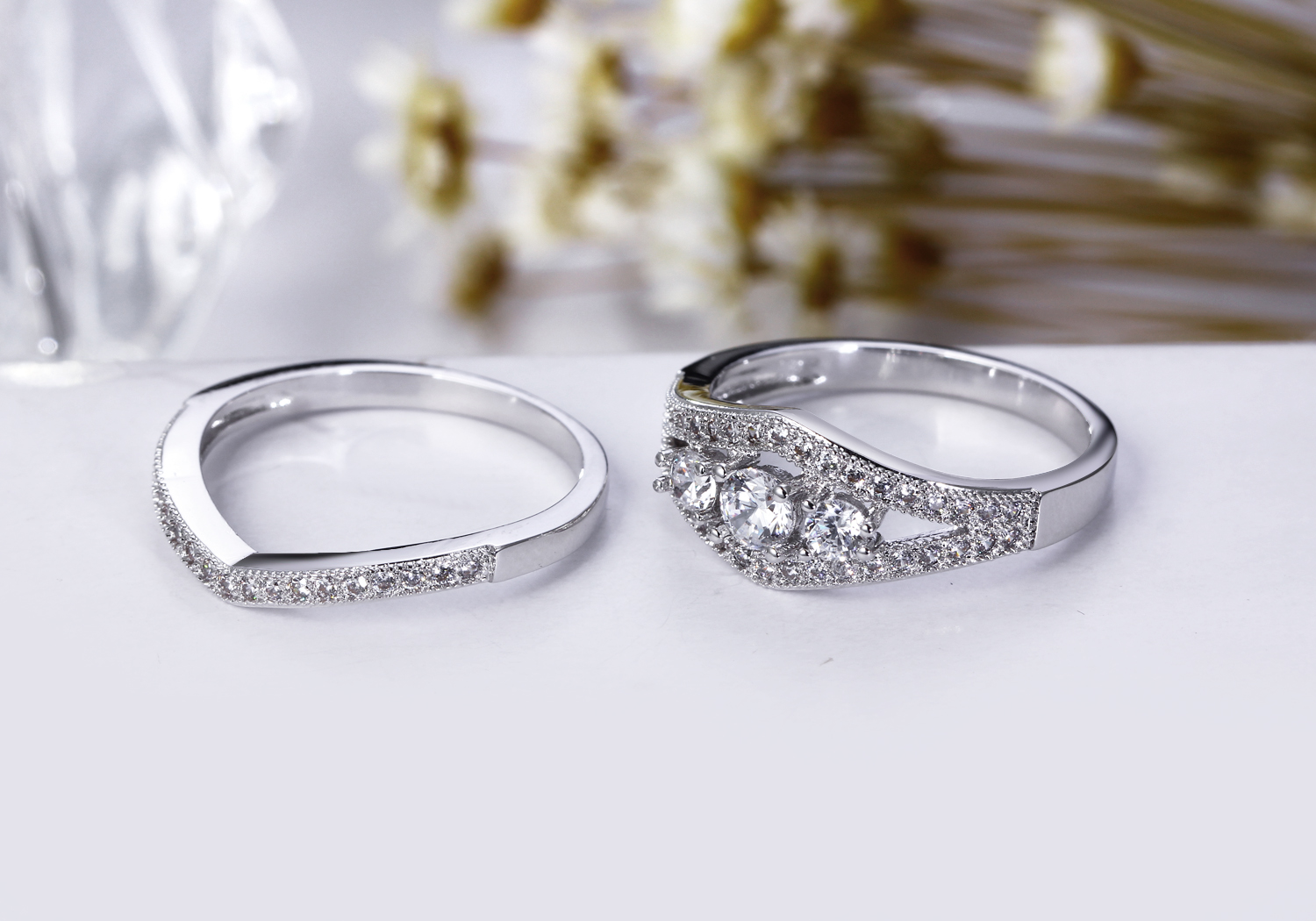 Fancy Designer Style Gift Rings White Stone Zircon AAA Quality Women Stacking Rings Wedding