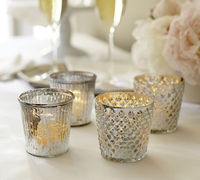 Mercury Glass Votive Holders Rocks Glass Candleholders Wedding decorations Candleholders Small glass