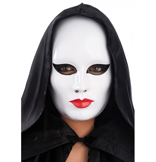 White Female Face Mask in Plastic for Halloween, Carnival & Party