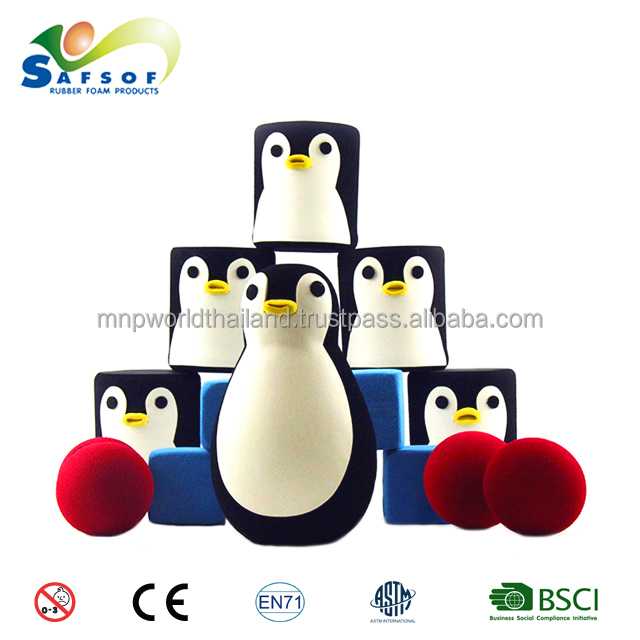 SAFSOF OEM customized High Quality Soft Rubber Foam Toy Indoor or outdoor activity games for kids - Amusing Penguin Toss Set